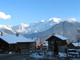 A view of Mont Blanc from the village