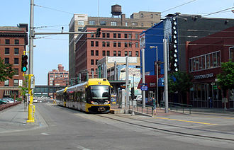 Warehouse District/Hennepin Avenue station - Station viewed from the corner of Hennepin Avenue and S. 5th Street (prior to the extension to Target Field station)