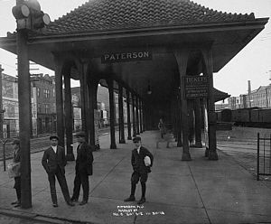Paterson station - The former Paterson station of the Erie Railroad on November 30, 1913, prior to the track being raised