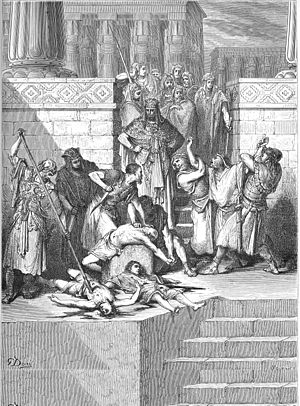 Zedekiah - Zedekiah's sons are slaughtered before his eyes, by Gustave Doré