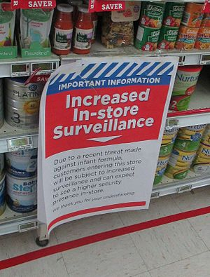 1080 usage in New Zealand - Sign on display at supermarket after it was revealed that an individual had threatened to poison products with 1080