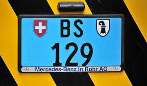 Vehicle registration plates of Switzerland - Utility vehicle back (Basel Stadt)