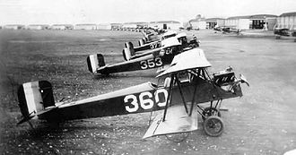 Brooks Air Force Base - 11th School Group Consolidated PT-1 trainers, Brooks Field, Texas, March 1926.  Brooks Field became the center for primary Army pilot training in 1922.