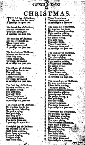 The Twelve Days of Christmas (song) - Anonymous broadside, Angus, Newcastle, 1774–1825