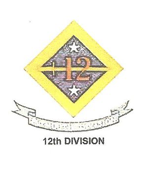 "12th Division (United States) - 12th U.S. Army Division SSI aka ""Plymouth Division'."