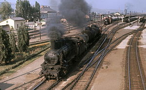 Cluj-Napoca train station - CFR classes 140 and 050 shunting at Cluj-Napoca, summer 1972
