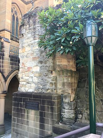 James Dempsey (builder) - Stone pillar in the grounds of St Mary's Cathedral in Sydney. The only surviving portion of the First St Mary's Cathedral, Sydney. Photographed 2016.