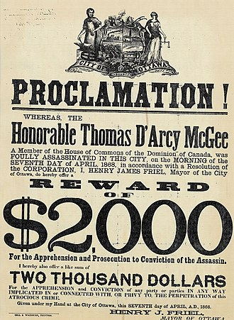 Thomas D'Arcy McGee - 1868 wanted poster following McGee's assassination
