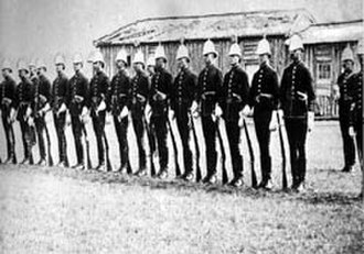 Fort Calgary - The North West Mounted Police at Fort Calgary, 1876. The force was sent to police the area, and establish relations with the indigenous peoples of the region.