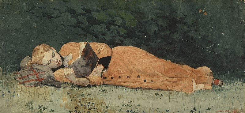 """The New Novel"" by Winslow Homer via Wikipedia"