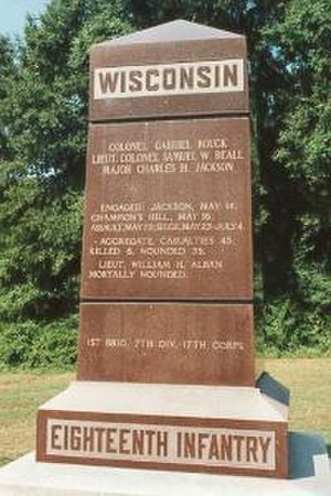 18th Wisconsin Volunteer Infantry Regiment - Monument to the 18th Wisconsin Volunteer Infantry located at Vicksburg National Military Park, MS.