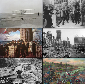 1900s (decade) - From left, clockwise: The Wright brothers achieve the first manned flight with a motorized airplane, in Kitty Hawk in 1903; U.S. President William McKinley is assassinated in 1901 by Leon Czolgosz at the Pan-American Exposition; An earthquake on the San Andreas Fault destroys much of San Francisco, killing at least 3,000 in 1906; America gains control over the Philippines in 1902, after the Philippine–American War; Rock being moved to construct the Panama Canal; Admiral Togo before the Battle of Tsushima in 1905, part of the Russo-Japanese War, leading to Japanese victory and their establishment as a great power.