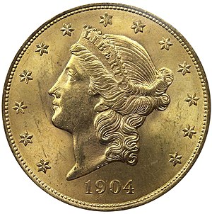 Liberty Head double eagle - Obverse of 1904 double eagle.  William Barber's modifications left more room for the date.