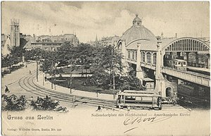 American Church in Berlin - Nollendorfplatz with the gable and tower of the American Church (left) at the entering Motzstraße and the Nollendorfplatz overhead station, 1905