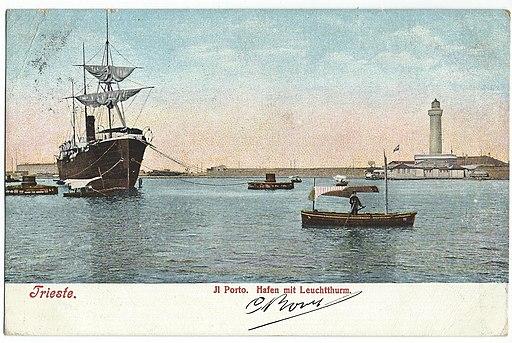 19090117 trieste porto hafen mit leuchtthurm