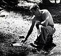1955. R. Beck with spray check plate. Western spruce budworm control project. Ochoco control unit, Oregon. (32677143190).jpg