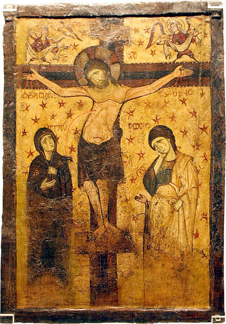 Double-sided icon with the Crucifixion and the Virgin Hodegitria (9th Century with additions and overpainting of the 10th and 13th centuries) The Byzantine and Christian Museum, Athens.