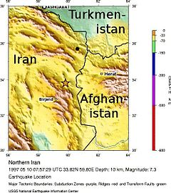 The earthquake's epicenter is shown in northeastern Iran. Just next to the earthquake is a mountain ridge. To the west is the Afghan border.