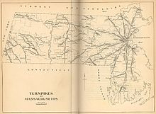 Figure 1 - Map of the turnpikes of Eastern Massachusetts