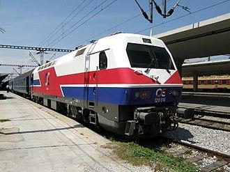 Railways of Greece - Electric locomotive in Thessaloniki station