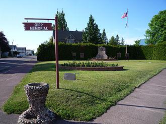 George Gipp - Gipp Memorial, Laurium, Michigan.
