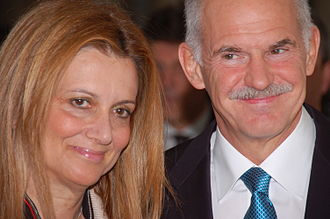 George Papandreou - Papandreou and his wife attend the Quadriga Award 2010 ceremony on 3 October 2010 in Berlin.