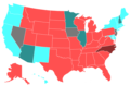 2012 United States House of Representatives Election by Change in the Majority Political Affiliation of Each State's Delegations From the Previous Election.png