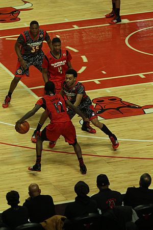 Crossover dribble - Image: 20130403 MCDAAG Anthony Barber does a crossover on Nigel Williams Goss (1)