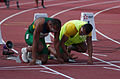 2013 IPC Athletics World Championships - 26072013 - Felipe Gomes and guide Jorge Borges of Brasil preparing for the Men's 100m - T11 1.jpg