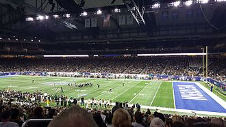 2016 MAC Championship Game - The Ohio University Bobcats line up on offense against the Western Michigan University Broncos.