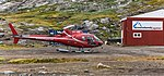 2017-08-24 GreenlandCopter Eurocopter AS350B3e Plus Ecureuil (OY-HHI) in Tasiilaq, Eastern Greenland.jpg