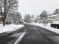 2018-03-21 12 01 24 View west along a slushy Virginia Willow Drive (Virginia State Route 7146) at Great Laurel Lane (Virginia State Route 7143) in the Franklin Glen section of Chantilly, Fairfax County, Virginia.jpg