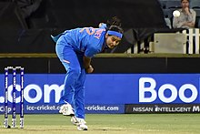 Pandey bowling for India during the 2020 ICC Women's T20 World Cup