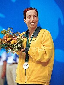 231000 - Swimming 400m freestyle S6 Elizabeth Wright silver medal podium - 3b - 2000 Sydney podium photo.jpg