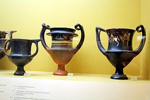 "West Slope Ware - Three Ancient Greek kantharoi vessels in the so called ""West Slope Style"", dating from 275-260 BC, in the Ancient Agora Museum in Athens"