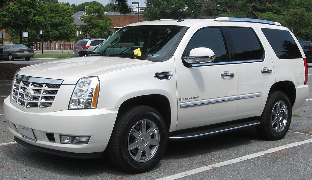 SUV cars - https://en.wikipedia.org/wiki/Sport_utility_vehicle#mediaviewer/File:3rd_Cadillac_Escalade_--_08-16-2010.jpg