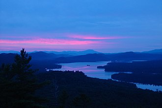 Upstate New York - View of the Fulton Chain Lakes (4th Lake) in the Adirondack Park, from Bald Mountain.