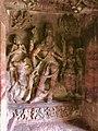 6th century Ardhanarishvara (left half Shiva, right half Parvati) with skeletal Bhringi, Nandi, female attendant (cave 1), Badami Hindu cave temple Karnataka.jpg