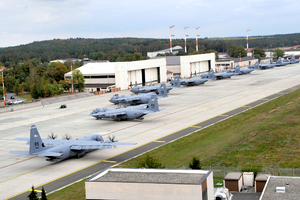 86th Airlift Wing - Ten 86th Airlift Wing C-130J Super Hercules return home after supporting Exercise Bayonet Resolve, Ramstein Air Base, Germany, Oct. 5, 2011.