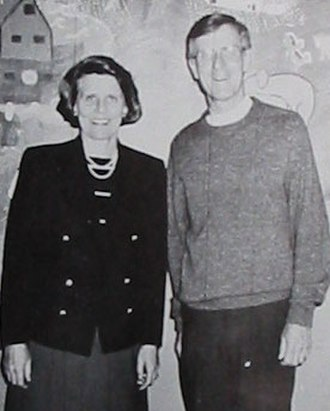 All Saints' Day School - Mrs. Laurie Boone (Head of School) and Father Paul Danielson (School Chaplain), in 1989