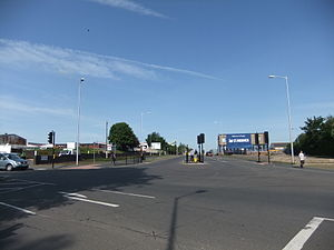 British Thomson-Houston - View across Mill Road, Rugby of where the east entrance of BTH was