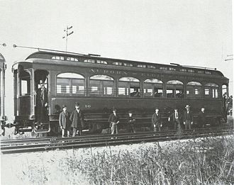 Chicago Aurora and Elgin Railroad - Car 10 during an inspection on August 4, 1902. The first ten cars were assigned even numbers from 10 to 28.