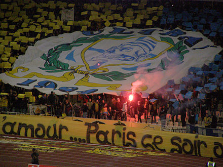 AEK fans lifting an Ultras banner - Olympique de Marseille