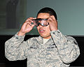 A U.S. Airman wears goggles that simulate drunk driving during a 101 Critical Days of Summer Drive Wise presentation at the base theater on RAF Mildenhall, England, May 23, 2013 130523-F-FE537-0021.jpg