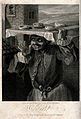 A baker is carrying a tray of pies on his head. Engraving by Wellcome V0039654.jpg