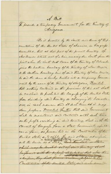 File:A bill to provide a temporary government for the territory of Arizona.djvu