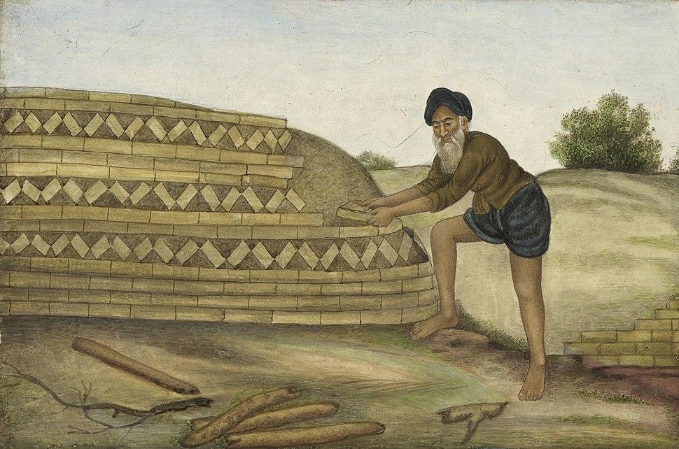 A brickmaker - Tashrih al-aqvam (1825), f.253v - BL Add. 27255