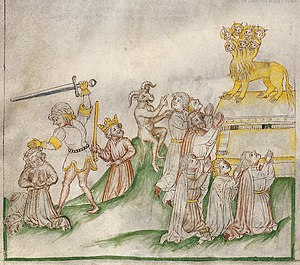 A horned beast rises from the earth, people made to worship Wellcome L0029267 crop2.jpg