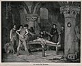 A man dressed in a loincloth is tortured on the rack with a Wellcome V0041737.jpg