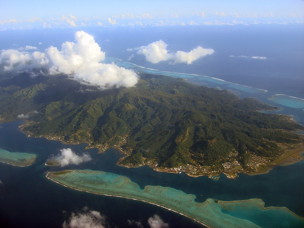A view from the AR 72 airplane (Over Society Islands - French Polynesia)